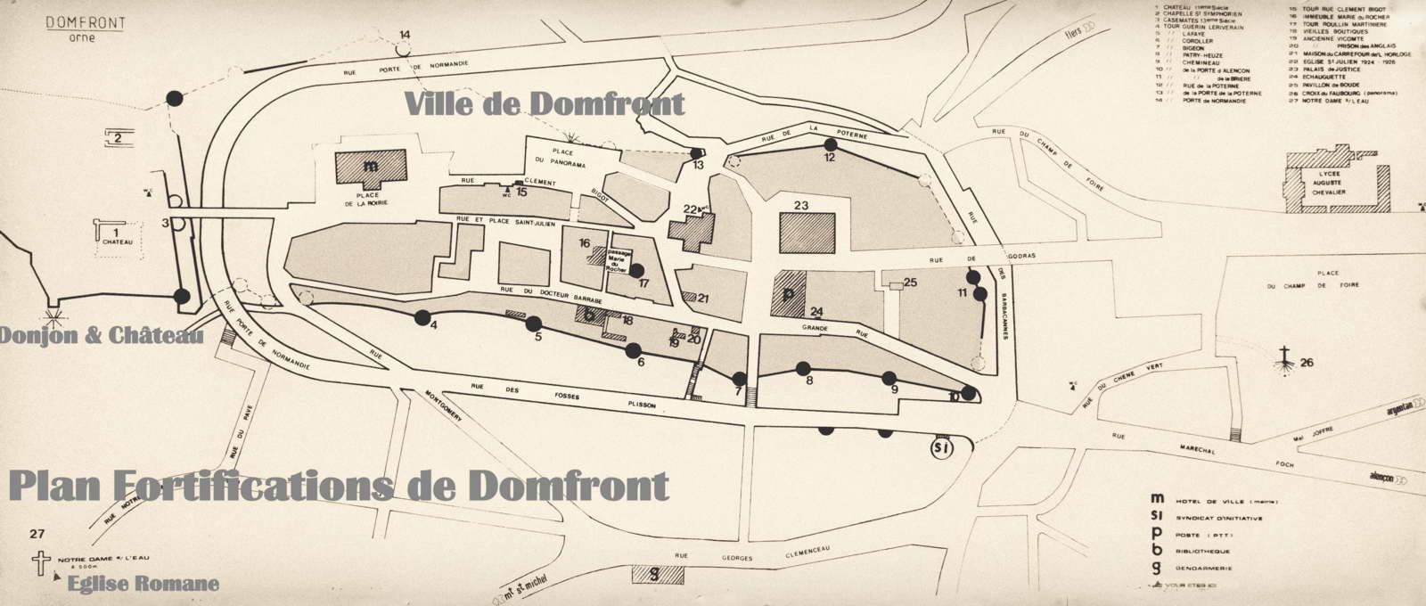 plan fortifications domfront ville